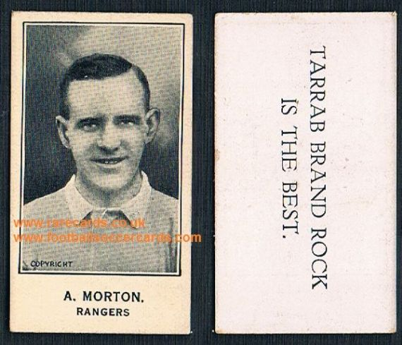 1925 A. Morton Glasgow Rangers GLOSSY VARNISHED FRONT Barratt's Tarrab Brand card